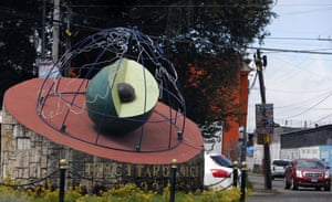 An avocado sculpture at the entrance to the town of Ziracuaretiro, Michoacán state, Mexico.