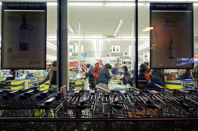 Supermarket trollies outside a supermarket