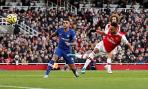 Pierre-Emerick Aubameyang of Arsenal scores his side's first goal.