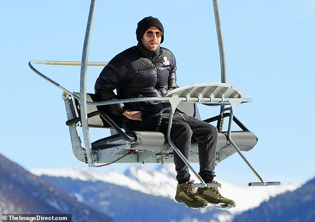 Up in the air: Coldplay mouthpiece Chris Martin was spotted riding a ski lift on his lonesome on Tuesday in Aspen, Colo.