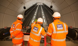 Crossrail workers on site at the Whitechapel station in East London.