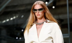A model presents a creation from the Bottega Veneta Spring/Summer 2020 collection during fashion week in Milan.
