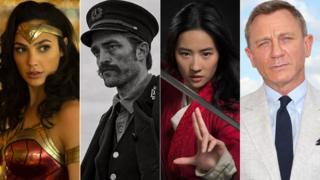 Gal Gadot as Wonder Woman, Robert Pattinson in The Lighthouse, Yifei Liu as Mulan and Daniel Craig