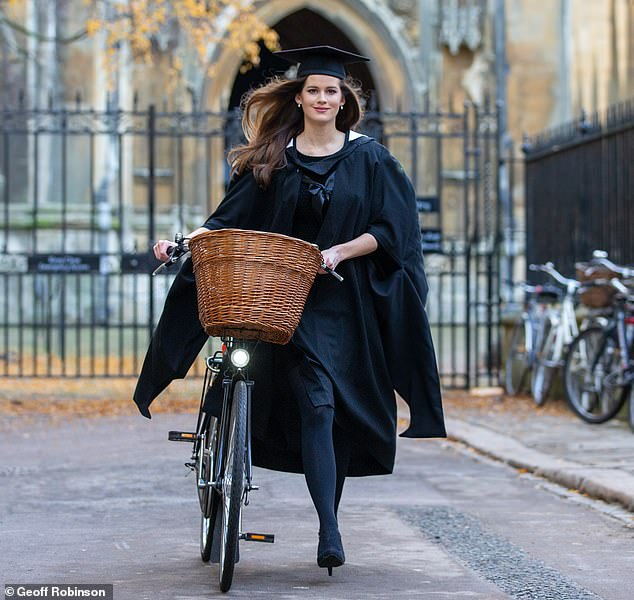 Carina Tyrrell, 30, (pictured) who is a former finalist of the highly competitive Miss World pageant, has graduated with a Master's degree from Cambridge University