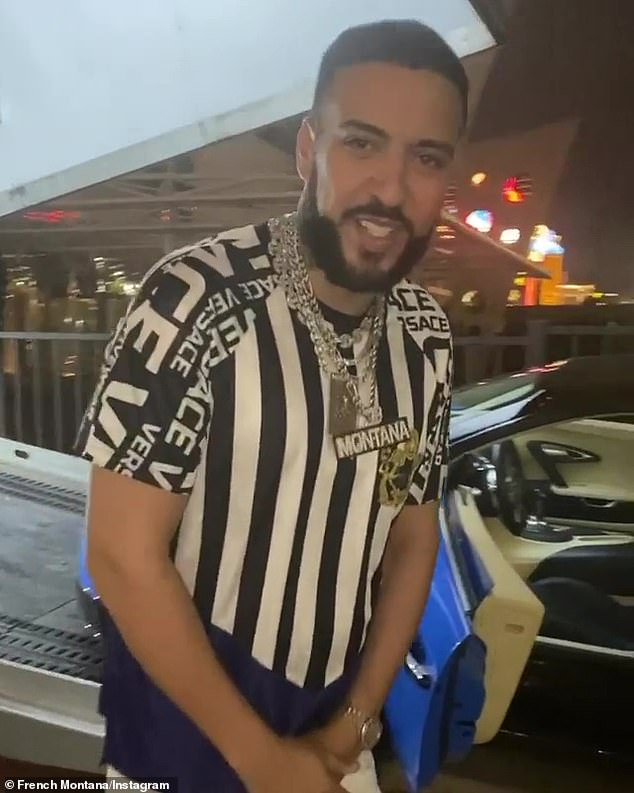 Self care: French Montana had a brand new blue Bugatti sports car delivered to his Las Vegas home Sunday evening to celebrate his recovery following a health scare in late December