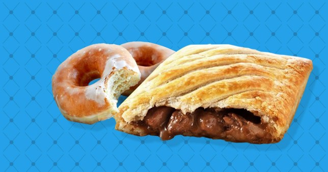 Two glazed doughnuts and one steak bake on a blue background