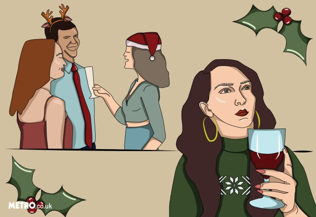 Illustration of woman holding glass of wine at Christmas