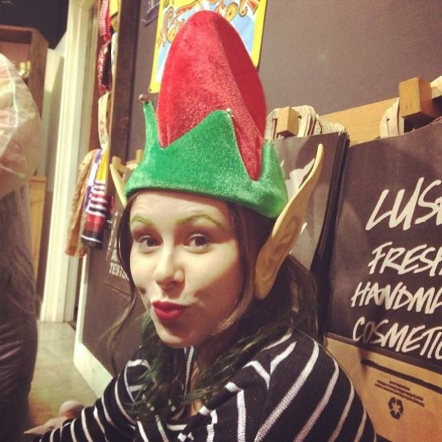 Jessica Lindsay in an elf hat
