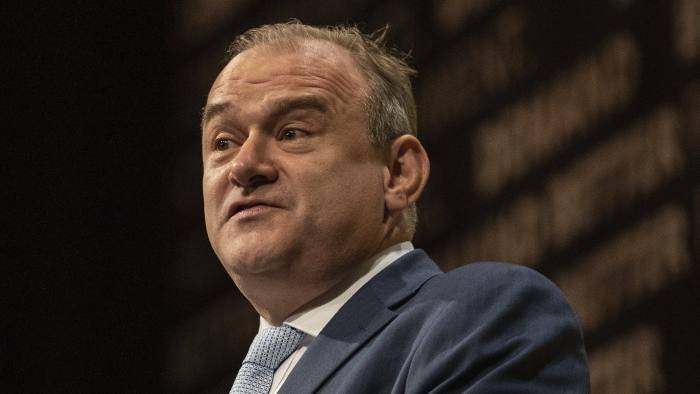 16/09/2019  Liberal Democrat conference in Bournemouth.   Picture shows Ed Davey, Liberal Democrat Spokesperson (Treasury) making his keynote speech at conference today.