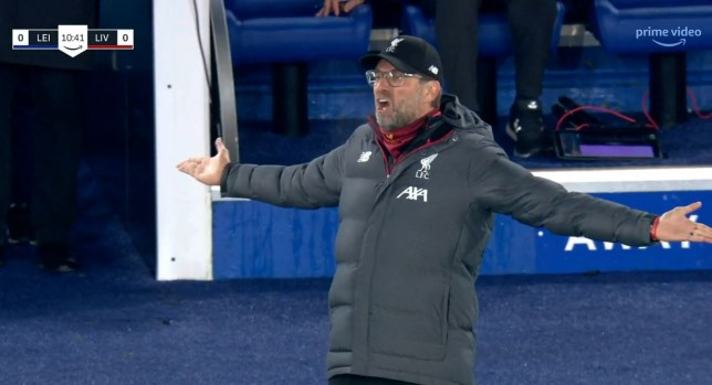 Jurgen Klopp was clearly upset with Mohamed Salah's miss against Leicester City