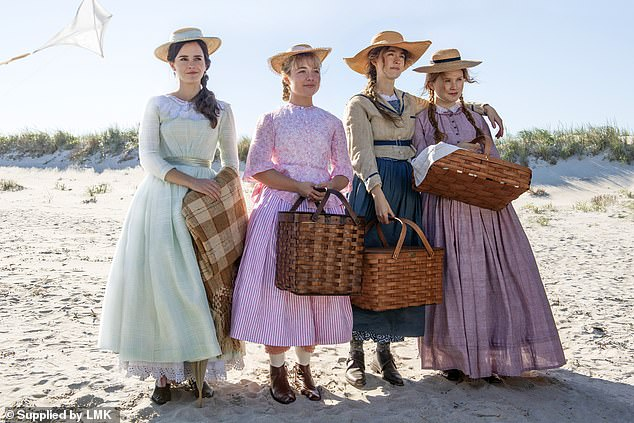 Florence Pugh , Emma Watson , Saoirse Ronan and Eliza Scanlen are pictured above in the new Little Women film. So the affection for this united, idealistic family in the 1860s, with the nurturing matriarch Marmee and a devoted father, who lost all his money helping friends in debt and is now an army chaplain away at war, keeps drawing us back