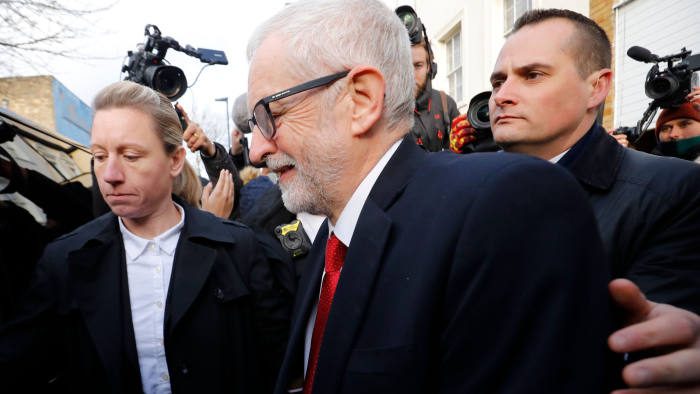 Opposition Labour party leader Jeremy Corbyn leaves his home in north London on December 13, 2019. - The Labour party suffered its worst electoral performance since before World War II, forcing leader Jeremy Corbyn to announce plans for his departure. (Photo by Tolga AKMEN / AFP) (Photo by TOLGA AKMEN/AFP via Getty Images)