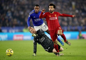 Liverpool's Mohamed Salah skips past the challenge of Leicester City keeper Kasper Schmeichel but can't find the target with he subsequent shot.
