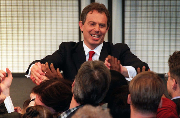Leader of the Labour Party Tony Blair addresses a rally outside the Royal Festival Hall in London this morning. 2nd May 1997. The Labour Party achieved a landslide victory in the General Election.