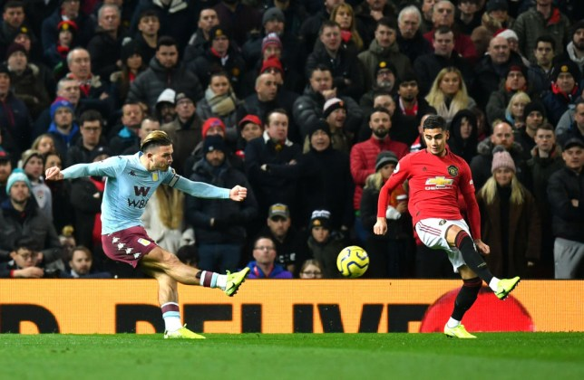 Aston Villa ace Jack Grealish scores against Manchester United at Old Trafford earlier this month