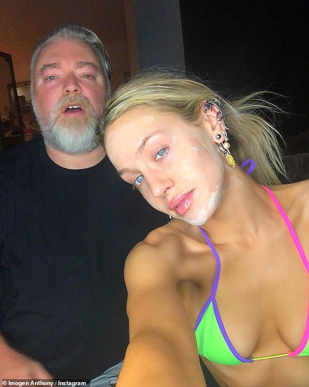 Dropping hints:Almost two months after her split from Kyle Sandilands (left) was made public, Imogen Anthony (right) has hinted that she was the one who ended the relationship