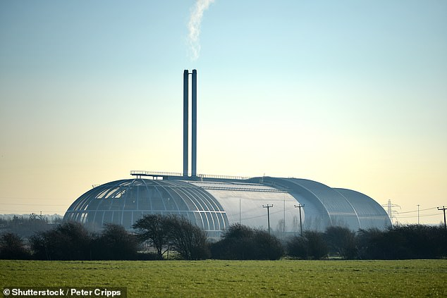 The amount recycled in 2018 was down to 9.8million tonnes, 0.5 per cent down on the amount sent for recycling in 2017 as more waste is sent to be burnt in incinerator such as this one in Newhaven (stock image)
