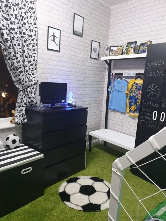 freddie cottrell in his football themed bedroom