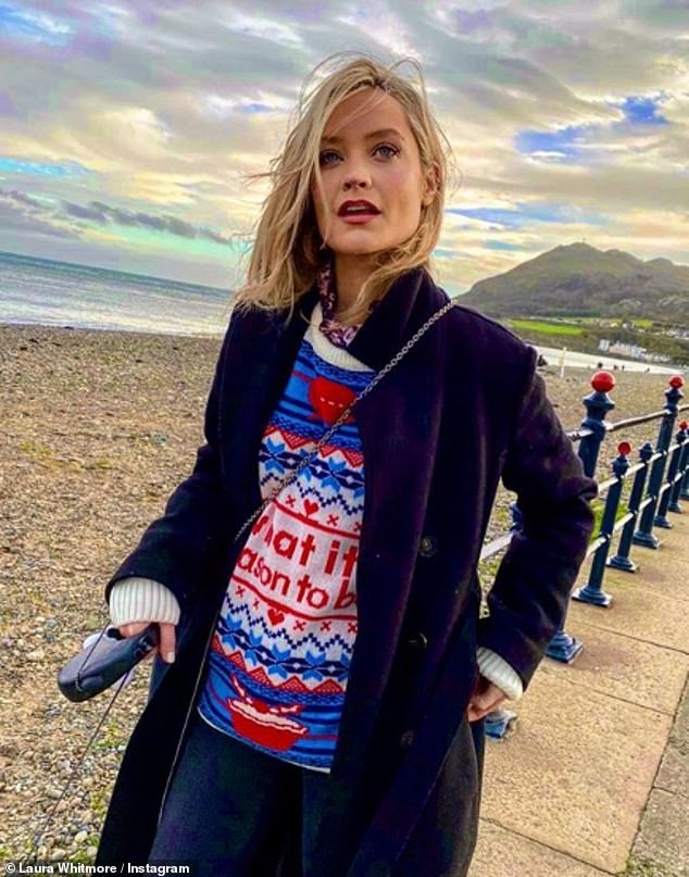 Candid: Laura Whitmore, 34, is enjoying a trip home to her native Bray, an upmarket town near Dublin, with boyfriend Iain Sterling after the TV personalities spent Christmas apart