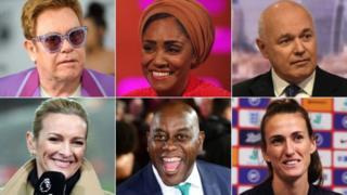 (Clockwise from top left) Elton John, Nadiya Hussain, Iain Duncan Smith, Jill Scott, Ainsley Harriot, Gabby Logan