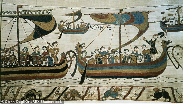 Norman fleet under William I The Conqueror 1027-87 King of England en route to England, from the Bayeux Tapestry