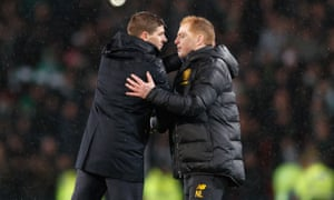 Steven Gerrard (left) will be keenly aware of the wider importance of the game against Neil Lennon's high-flying Celtic side.