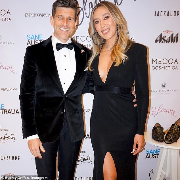 'The adventure is still bloody wonderful': Osher Günsberg (left) paid tribute to wife Audrey (right) on their third wedding anniversary in a gushing Instagram post on Saturday