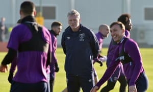 Captain Mark Noble (right) already seems to be enjoying life again as David Moyes takes his first training session back at West Ham on Monday.
