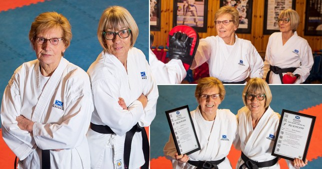 Sheila and Isabel murray wearing their black belts in karate