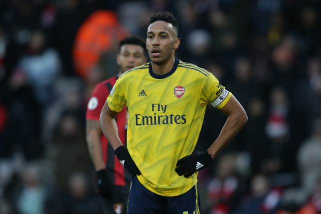 Pierre-Emerick Aubameyang in action during Arsenal's draw with Bournemouth