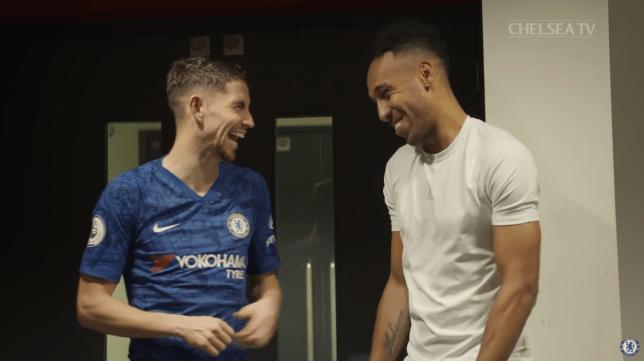 Pierre-Emerick Aubameyang jokes around with Jorginho