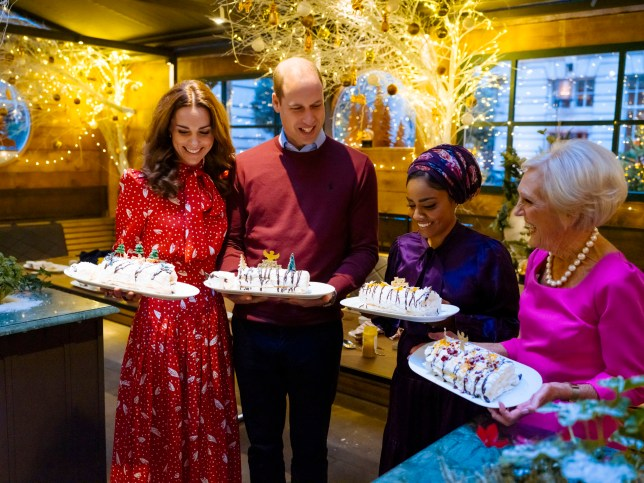 WARNING: Embargoed for publication until 22:30:00 on 30/11/2019 - Programme Name: A Berry Royal Christmas - TX: 16/12/2019 - Episode: n/a (No. n/a) - Picture Shows: with their finished Christmas meringue roulades in the winter chalet at the Rosewood London Hotel. **STRICTLY EMBARGOED NOT FOR PUBLICATION BEFORE 22:30 HRS ON SATURDAY 30TH NOVEMBER 2019** The Duchess of Cambridge, Duke of Cambridge, Nadiya Hussain, Mary Berry - (C) Shine TV Ltd - Photographer: c/o Matt Porteous