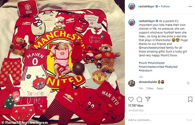 Happy days!Rachel Riley, who shares baby girl Maven Aria with husband Pasha Kovalev, is ensuring she is starting her daughter young as she took to Instagram to reveal she is indoctrinating the tot into her beloved Manchester United