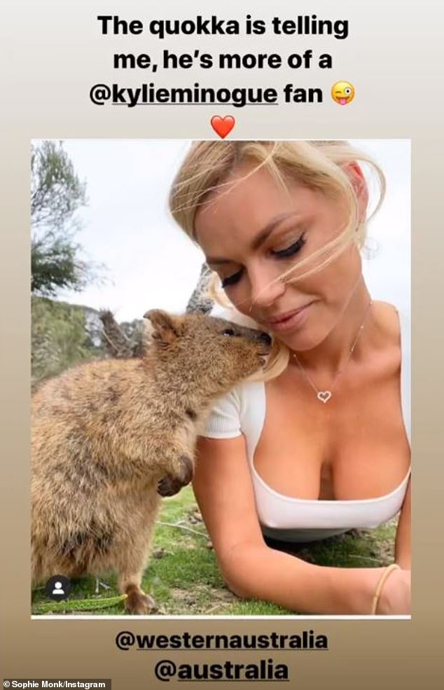 Her biggest fan! Sophie Monk, 40, parodied Kylie Minogue's $15million Tourism Australia ad, as she posed with a quokka (pictured), in a photo shared to Instagram Stories on Friday