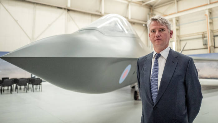 22/08/2019 BAE systems, Warton. Picture shows CEO of BAE systems, Charles Woodburn, in front of a model of a proposed Tempest fighter jet.