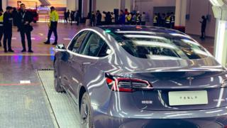 One of the first China-made Teslas leaves factory