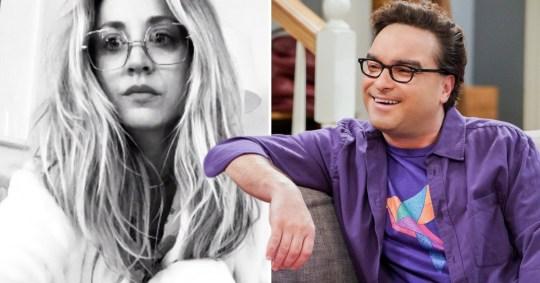 Kaley Cuoco and Johnny Galecki as Leonard in The Big Bang Theory