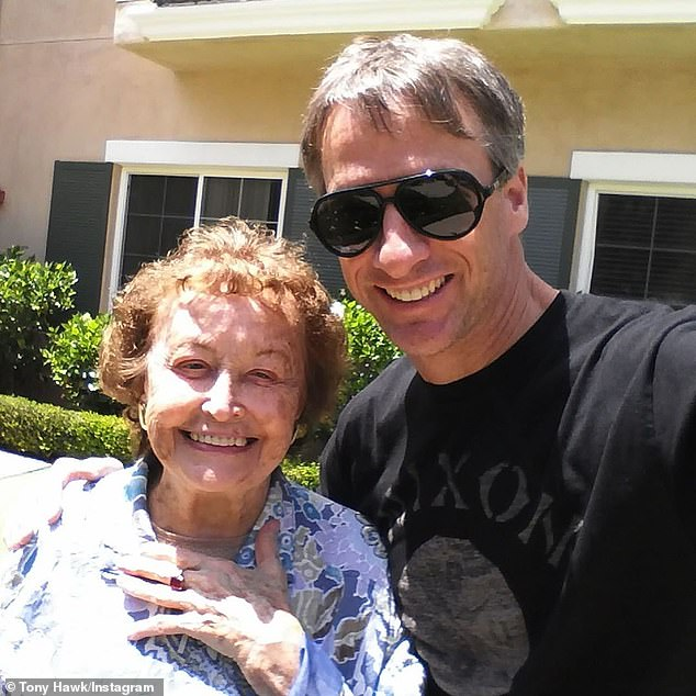 Sad: Tony Hawk's mother, Nancy Elizabeth Hawk, 'died peacefully' on Monday afternoon after a decade-long battle with Alzheimer's disease and Dementia