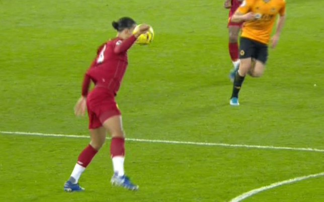 Liverpool got away with a Virgil van Dijk handball in the build up to their goal against Wolves