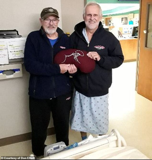 Kyle Brandt, 68 of Chippewa Falls, Wisconsin, donated a kidney in October to his best friend Don Elliott, also 68, who needed a life-saving transplant. Pictured: Brandt (left) and Elliott (right) after the transplant at the Mayo Clinic in October holding a kidney pillow