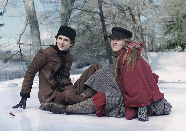 Little Women is by definition a female story, with men only in supporting roles. Pictured: Timothée Chalamet andSaoirse Ronan