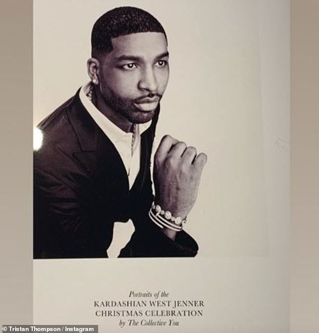 On good terms: Khloe's ex Tristan Thompson was there, but he decided to go solo for his portrait