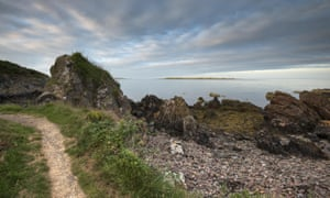 footpath, rocks and sea at Orlock point.