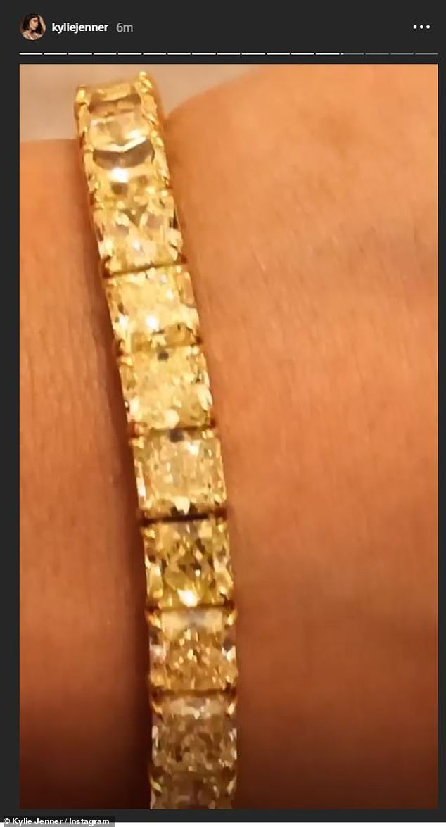 So many carats! Then she shared a video of the canary diamond bracelet on her wrist