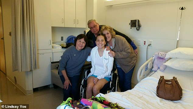 At first Lindsay (pictured, center, with her family) had to use a wheelchair, but she progressed quickly