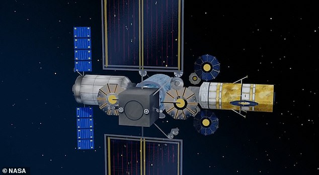 Eventually astronauts will dock with a new lunar gateway space station - shown here in an artist's impression - that will be in orbit around the moon and contain a lab as well as crew quarters