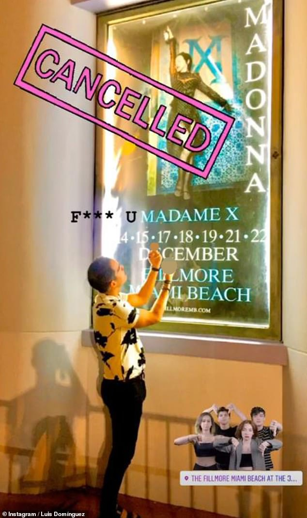 Upset: One fan posted a photo of himself giving two middle fingers to a promotional poster outside the Fillmore where she was set to perform