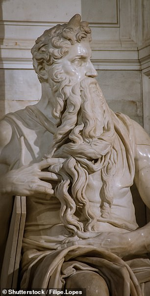 A swollen jugular can be spotted on the artist's sculpture of Moses (pictured), in which the biblical prophet is depicted as having just returned from Mount Sinai after receiving the Ten Commandments — to find the Israelites worshipping the false idol of the golden calf