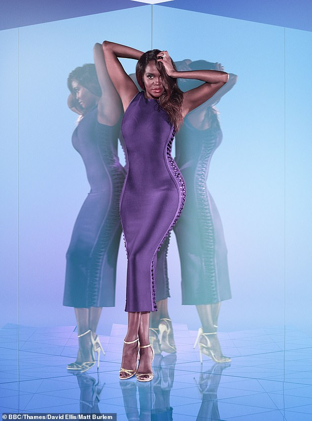 Wow: Captain and this year's Strictly winner Oti showed off her sensational curves in a slinky purple dress