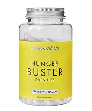 Pills like Protein World Hunger Buster Capsules contain a fibrous powder called Konjac glucomannan which should 'expand' in the stomach, reducing hunger pangs